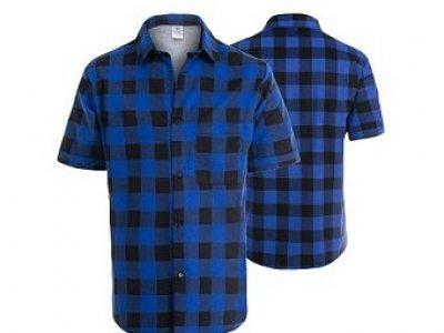Koszula flanelowa z krótkim rękawem niebieska