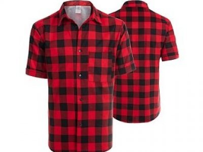 Koszula flanelowa zkrótkim rękawem czerwona