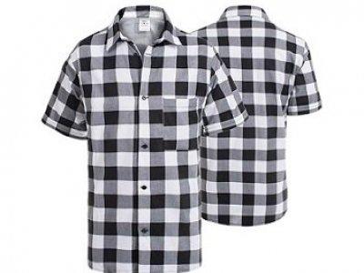 Koszula flanelowa z krótkim rękawem biało czarna